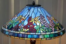"25"" TIFFANY REPRODUCTION STYLE STAINED GLASS FLORAL LUPINE LAMP GOLDEN LILY BASE"