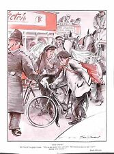Newpaper vendor.Police.Bus.Bicycle.Horse.Stop Press.Antique.Bert Thomas.1927.Old