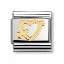 *NEW* GENUINE NOMINATION CLASSIC CUPID'S ARROW 18ct GOLD HEART CHARM (03011609)