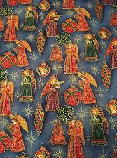 RPV09 RARE VINTAGE Folk Art Angel Christmas Religious NOS Cotton Quilt Fabric