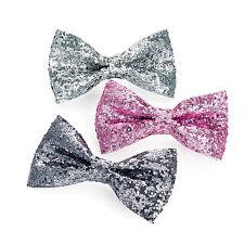 3pc scintillant 7cm noeud clip cheveux set argent rose tonal paillettes brillant mousseux