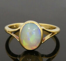 Vintage 9ct Yellow Gold Oval Created Opal Solitaire Ring (Size L) 9x7mm Head