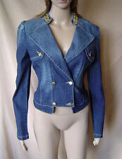 BNWT WOMENS BLUE DENIM DOUBLE BREASTED JEWEL TRIMMED JACKET UK SIZE 10 EU 38
