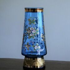 Glas Vase Bohemia Blumenvase Hanbemalt Emailmalerei Vergoldung Porzellan Blüten