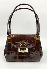 Vintage brown leather crocodile embossed handbag unusual pleat and ring side