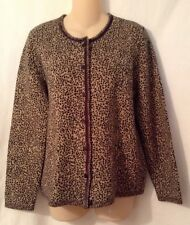 Orvis Animal Print Button Front Sweater Size Medium