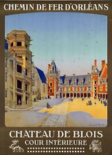 "Vintage Illustrated Travel Poster CANVAS PRINT Chateau De Blois 8""X 10"""