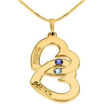 Birthstone Interlocking Hearts Necklace - Engraved Two Name 24k Gold Plated