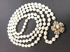 "Sign Miriam Haskell Pearls Rhinestone flower Necklace Jewelry 39"" Long"