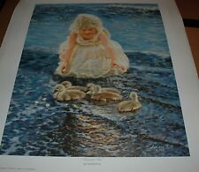 Sandra Kuck SUMMER FUN 20x16 SOLD OUT art print, little girl ducklings at beach