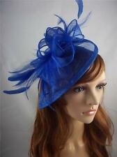 Royal Blue Sinamay & Feathers Hat Fascinator  - Occasion Wedding Races