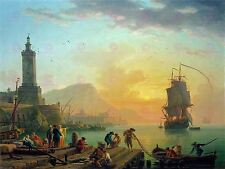 PAINTING MARITIME VERNET CALM MEDITERRANEAN PORT LARGE ART PRINT POSTER LF1589