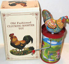 Tin Litho Chicken Rooster Hand Crank Toy Noise Maker HTF Shackman MINT IN BOX