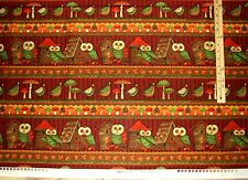 Debbie Mumm Fall Forest Owl Mushroom Halloween Sampler Fabric   by the 1/2 Yard