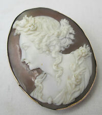 Antique 9ct Rose Gold Fine Carved Shell Cameo Greek Goddess Flora Brooch c1870