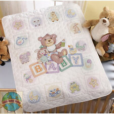 Cross Stitch Kit ~ Plaid-Bucilla Baby Blocks Crib Cover / Baby Quilt #45402