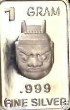 "1 Gram Pure .999 Fine Silver ""Japanese Oni"" Bar Round Coin NM 2016"