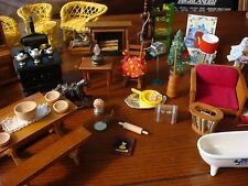 VINTAGE Dollhouse Furniture-60+ pcs/Bedroom/Kitchen/Bath/LR-Durham, Handmade