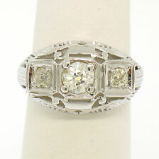 Antique Art Deco 18k White Gold Filigree 0.72ctw 3 Old European Cut Diamond Ring