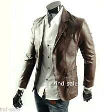Custom Tailor Made All Size Genuine Blazer Coat Leather Jacket Brown Slim Fit