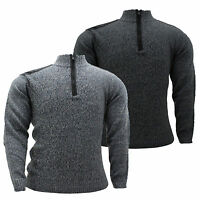 Mens Big Size Ribbed Knit Patch Zip Up Funnel Neck Winter Jumper Top 3XL 4XL 5XL