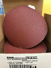 "Box of 50, KEEN #36192, 6"" PSA Paper Sanding Disc No Vac Hole 120 Grit"