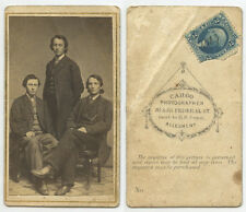 CIVIL WAR ERA BROTHERS W/ 2 STAMP, CDV STUDIO PORTRAIT BY CARGO, PITTSBURGH