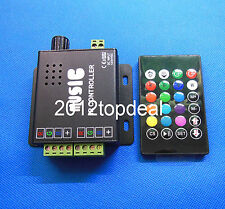 Music Active LED RGB Controller 3 Channels 2-port 24key IR Remote 12V/24V 12A
