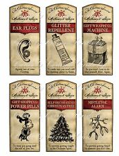 Christmas 6 survival bottle labels stickers glossy adhesive paper