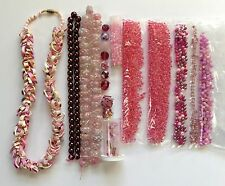 225+ Lot Pink Wholesale Glass Beads Mix + 4.75 oz. Seed Beads For Jewelry Making