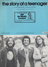 AMERICA sheet music The Story of a Teenager from film JIM--THE WORLD'S... 1975