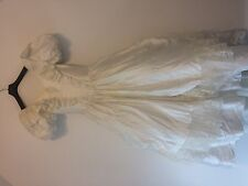 VINTAGE FAIRYTALE IVORY RUFFLE LACE FULL SKIRT WEDDING DRESS GOWN 14