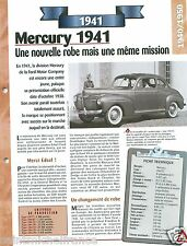 Mercury 19A-73 Sedan-Coupe Ford V8 1941 USA Car Auto Retro FICHE FRANCE