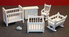 Dollhouse Miniature Nursery Set 5 pieces Crib Cradle C 1:24 1/2 inch scale E81
