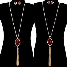 LONG 2 SIDED STONE MEDALLION TASSEL LONG NECKLACE SET GOLD CHAIN BURGANDY OPAL