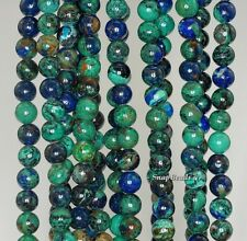 4MM NATURAL AZURITE GEMSTONE GRADE AAA GREEN BLUE ROUND 4MM LOOSE BEADS 16""