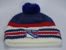 New York Rangers Reebok NHL Primary Colors Knit Cuffed Toque W/ Pom Hat Cap