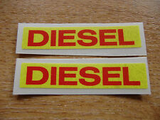 DIESEL reminder stickers - 2 off 75mm decals/stickers (red on yellow)