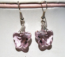 'AAA' GRADE PINK CRYSTAL GLASS BUTTERFLY EARRINGS SILVER PLATED EARRING HOOKS