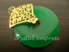 FENG SHUI - JADE DISC PENDANT WITH FLOWERED DOUBLE HAPPINESS (GOLD PLATED)