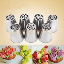 7Pcs Russian Tulip Flower Cake Icing Piping Nozzles Decoro Tips Baking Tools