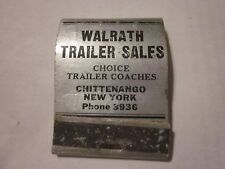 Vintage Walrath Trailer Sales Chittenango, NY Travelo Kozy Coach Matchbook