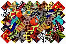 "40   4"" Fabric Squares African 20 Patterns Quilting Patchwork"