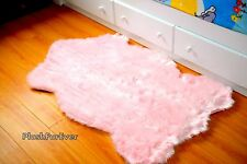 Shag Rug 3' x 5' Baby Pink Faux Fur Area Rug  Nursery Rug Home Accents
