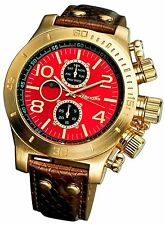 Mens Watch Multifunction Large Face Big Red Dial Gold Oversized Case Reloj Cheap