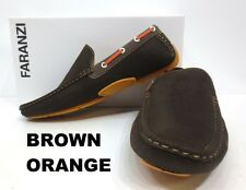 Men's FARANZI brown org black red faux leather slip on loafers shoes style F4843