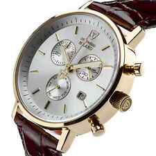 ��DETOMASO Milano Mens Gold Chronograph Watch Swiss ISA Rouge Leather New