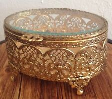 ⭐️ Vintage Victorian Style Gold Plated Metal Jewelry Box Or Large Trinket Box ⭐️