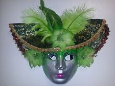 Masquerade Mask with Hat and Feathers (Green/Silver), Costume, Halloween