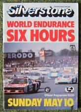 SILVERSTONE WORLD ENDURANCE SIX HOURS RACE PROGRAMME 10 MAY 1981
